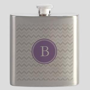 Purple Grey Chevron Flask