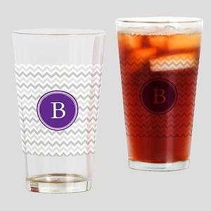 Purple Grey Chevron Drinking Glass