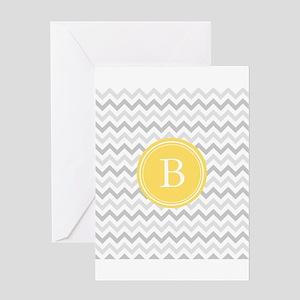 Yellow Gray Chevron Greeting Cards