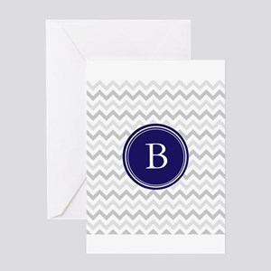 Navy monogram grey chevron Greeting Cards