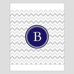 Navy monogram grey chevron Poster Design