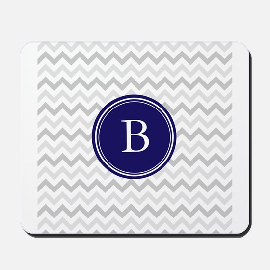 Navy monogram grey chevron Mousepad