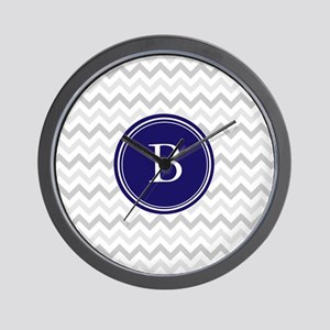 Navy monogram grey chevron Wall Clock