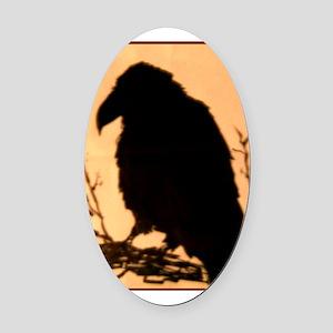 Raven, crow, bird art! Oval Car Magnet