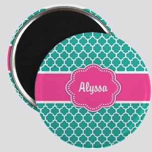 Teal Pink Quatrefoil Personalized Magnets