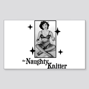 The Naughty Knitter Rectangle Sticker