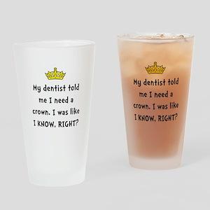 Dentist Crown Drinking Glass