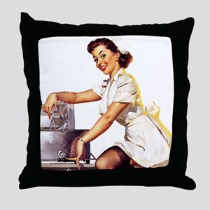 Vintage Elvgren Nurse Pinup Throw Pillow