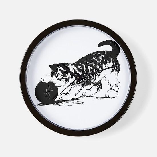 Kitten with Yarn Wall Clock