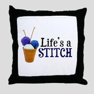 Knitting - Life's a Stitch Throw Pillow