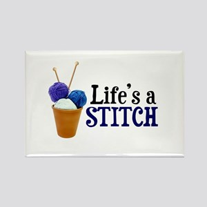 Knitting - Life's a Stitch Rectangle Magnet