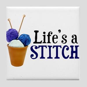 Knitting - Life's a Stitch Tile Coaster