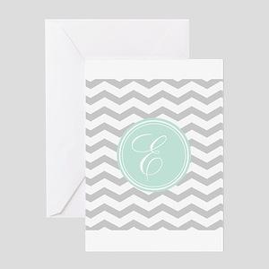 Gray monogram Chevron Greeting Cards