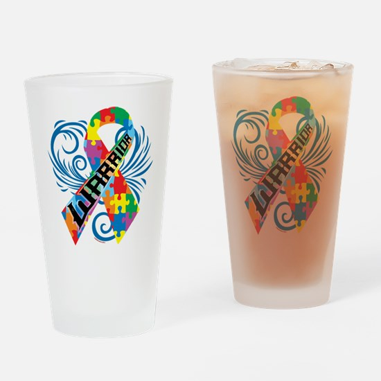 Autism Warrior Drinking Glass