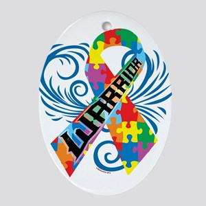 Autism Warrior Ornament (Oval)