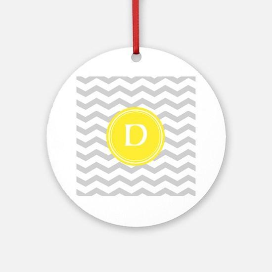 Grey Chevron Monogram Ornament (Round)