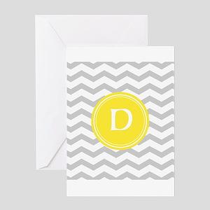 Grey Chevron Monogram Greeting Cards