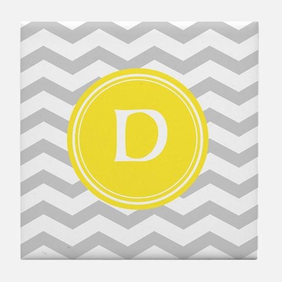 Grey Chevron Monogram Tile Coaster