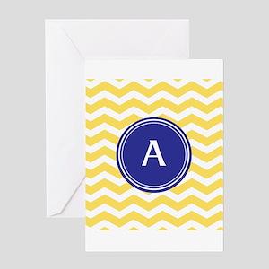 Monogrammed yellow chevron Greeting Cards