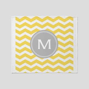 Yellow Chevron Monogram Throw Blanket