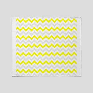 Yellow and Grey Zig Zags Throw Blanket