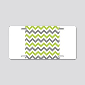 Green and Grey Chevron Aluminum License Plate