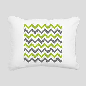 Green and Grey Chevron Rectangular Canvas Pillow