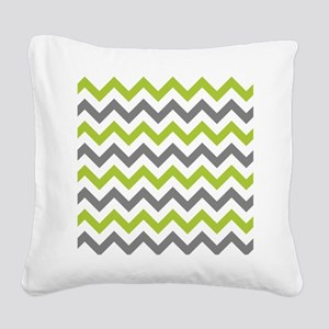 Green and Grey Chevron Square Canvas Pillow