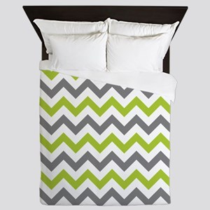 Green and Grey Chevron Queen Duvet