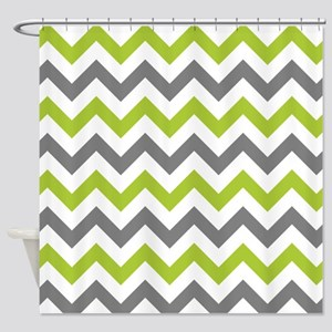 Green And Grey Chevron Shower Curtain