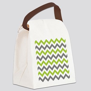 Green and Grey Chevron Canvas Lunch Bag