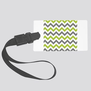 Green and Grey Chevron Large Luggage Tag
