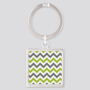 Green and Grey Chevron Keychains