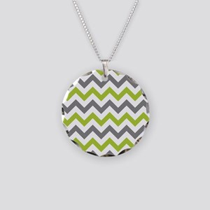 Green and Grey Chevron Necklace Circle Charm