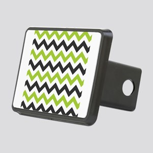 Green and Black Chevron Rectangular Hitch Cover