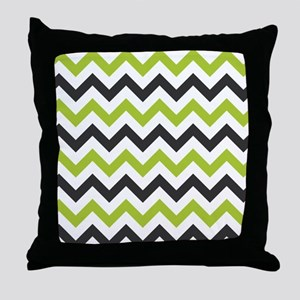 Green and Black Chevron Throw Pillow