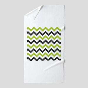 Green and Black Chevron Beach Towel