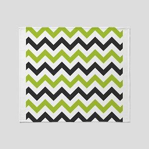 Green and Black Chevron Throw Blanket