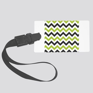 Green and Black Chevron Large Luggage Tag