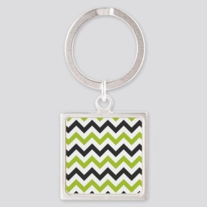 Green and Black Chevron Keychains