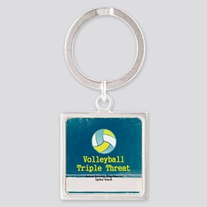 Volleyball Slogan Square Keychain