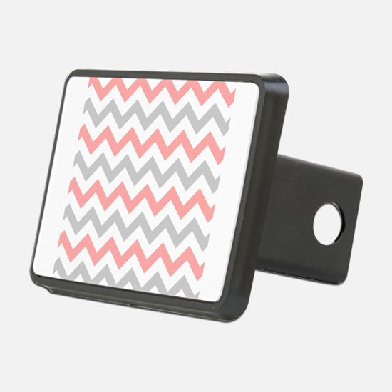 Coral and Grey Chevron Hitch Cover
