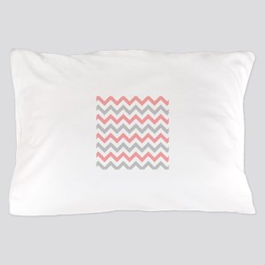 Coral and Grey Chevron Pillow Case