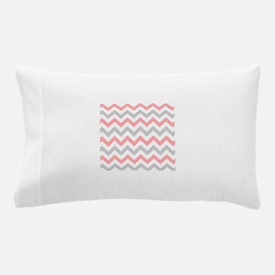 Coral and Grey Chevron Pillow Case