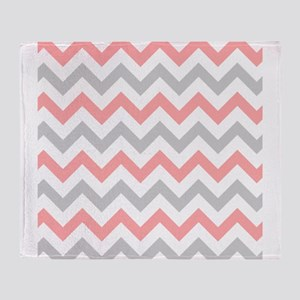 Coral and Grey Chevron Throw Blanket