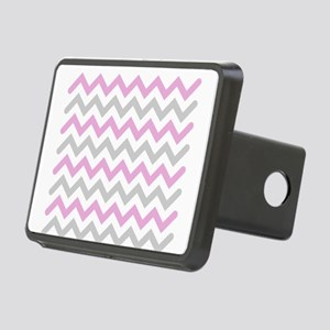 Pink and Grey Chevron Rectangular Hitch Cover