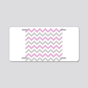 Pink and Grey Chevron Aluminum License Plate