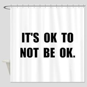 Ok Not Ok Black Shower Curtain
