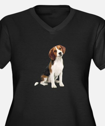 Beagle #1 Women's Plus Size V-Neck Dark T-Shirt