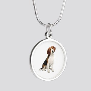 Beagle #1 Silver Round Necklace